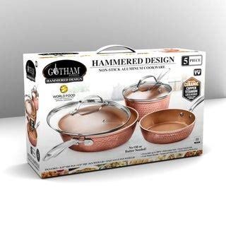 shop gotham steel  stick hammered copper qt stock pot  lid  sale overstock