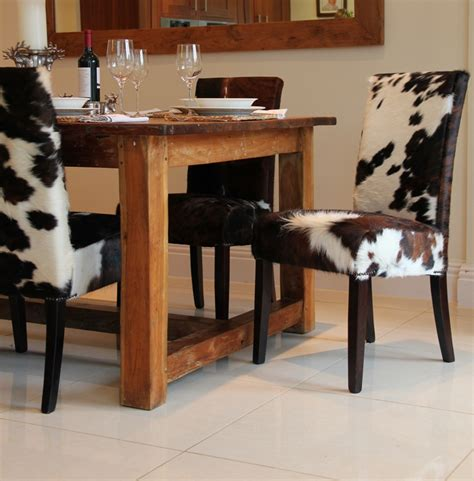Cowhide Table by Cowhide Dining Chairs And Stylish Choice Of Dining