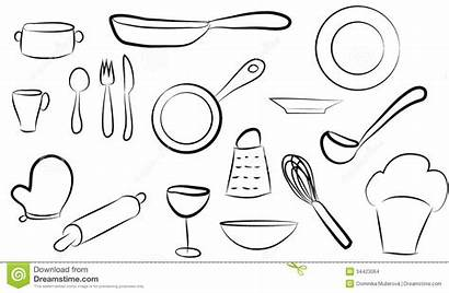 Kitchen Dishes Sets Graphic Drawing Shape Silhouette