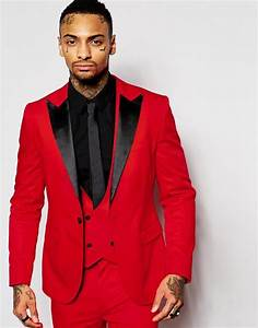 Fashion Red Mens Suits Black Peaked Lapel Three Pieces