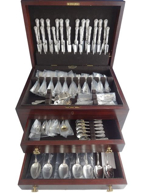silver sterling number ten dominick haff flatware pieces huge