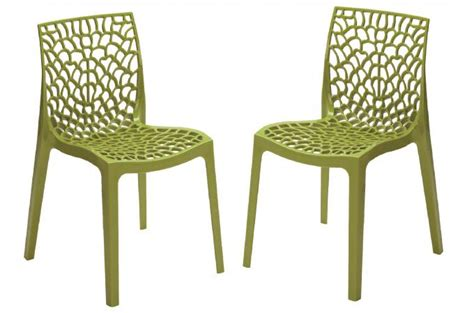 la chaise verte lot de 2 chaises design vert anis gruyer opaque chaise