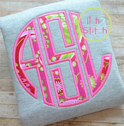 natural circle monogram applique font  itch  stitch