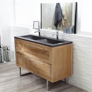 meuble en teck et vasque double en terrazzo chez tikamoon With meuble double vasque avec pied