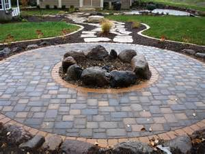 Patio Pavers Ideas For Cheap by Fire Pits Cobble Pavers With Boulder Firepit Fire Pit