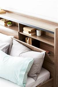 armidale bookend bed frame w bedhead storage drawer base With bedhead with storage