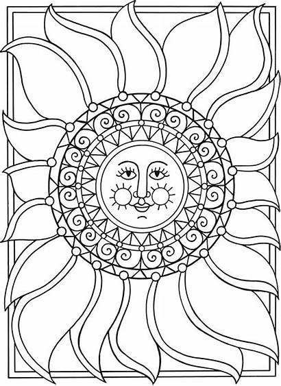 Coloring Moon Sun Stars Pages Adult Printable