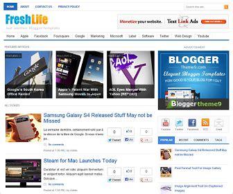 Templates 3 Columns Hola by Freshlife Template Bloggertheme9