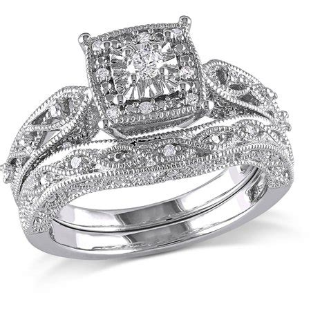 miabella  carat tw diamond sterling silver bridal set