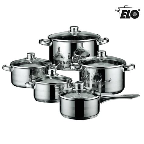 elo skyline stainless steel kitchen induction cookware pots  pans set  air ventilated