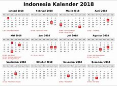 2018 Printable Calendar with Indonesia Holidays Free