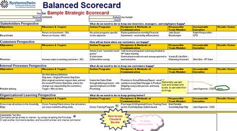 balanced scorecard template excel balanced scorecard template cyberuse
