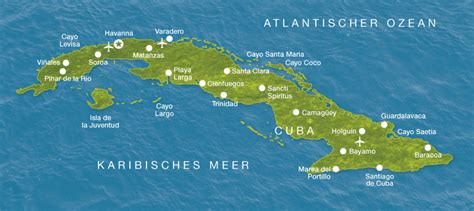 Kuba Karte | Urlaub Rundreise Strand Cuba | Karibik Inseln