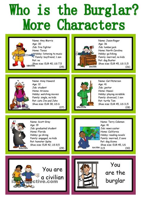 burglar  conversation cards roleplay
