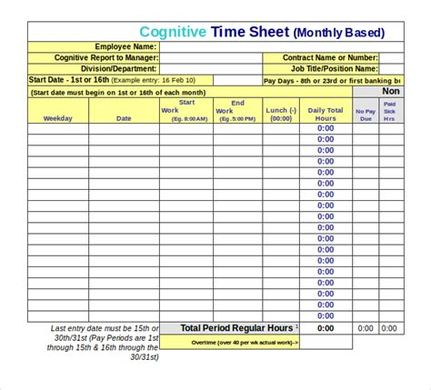 Time Sheet Template For All Employees Word by 22 Employee Timesheet Templates Free Sle Exle