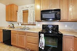 Kitchen cabinet color ideas with black appliances