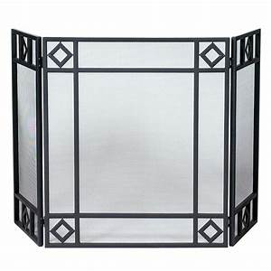Uniflame black wrought iron 3 panel fireplace screen with for Black iron fireplace screen