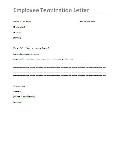 employee termination template letter of employment contract sle