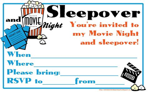FILL IN THE BLANKS INVITATION TO A MOVIE NIGHT AND
