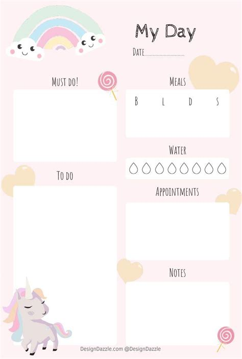unicorn planner  printable