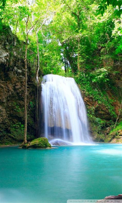 tropical waterfall ultra hd desktop background wallpaper
