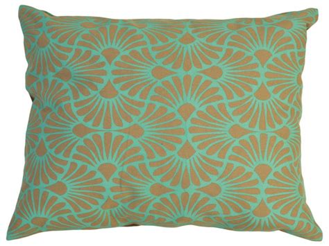 Contemporary Decorative Pillows by Fan Palm Cotton Pillow Cover Teal Contemporary Decorative