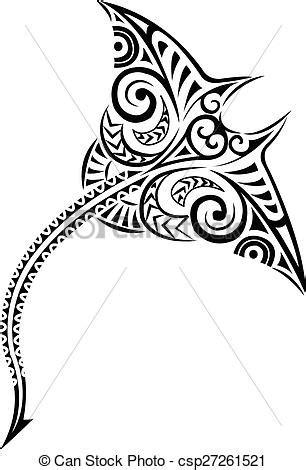 Polynesian style mantaray. Polynesian manta-ray design.