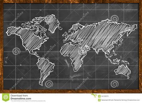 world map chalk drawing blackboard stock illustration