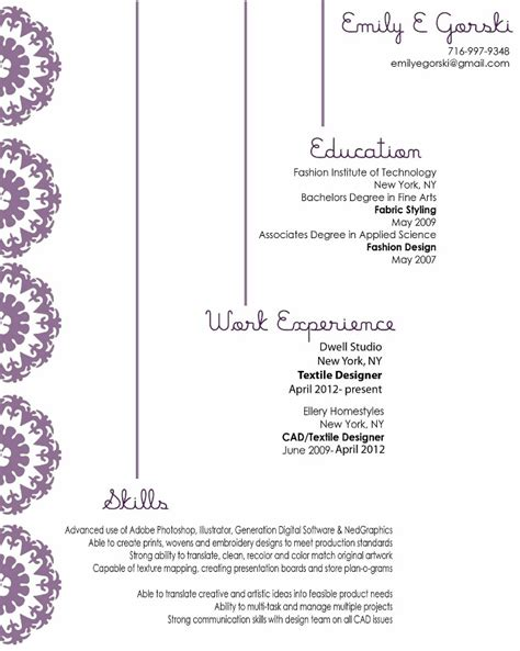 Textile Design Resume by About Me Resume Emily Gorski