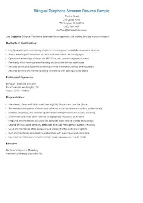 Bilingual Resume Exles by Resume Sles Bilingual Telephone Screener Resume Sle