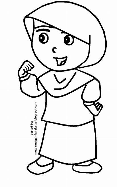 Mewarnai Kartun Gambar Sketsa Muslimah Berhijab Gadis