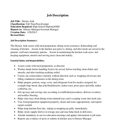resume objective for dietary aide dietary aide description cook resume msbiodiesel us
