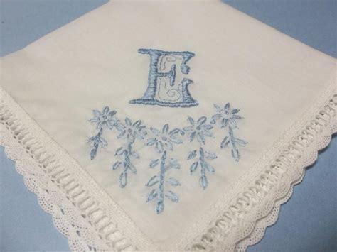 something blue bridal monogrammed handkerchief something blue wedding handkerchief satin stitched