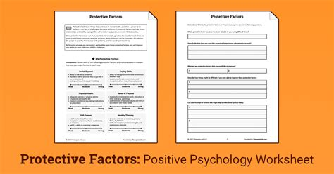 protective factors worksheet therapist aid