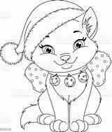Coloring Christmas Cat Animal Cartoon Illustration Vector Illlustration Technique Celebration sketch template