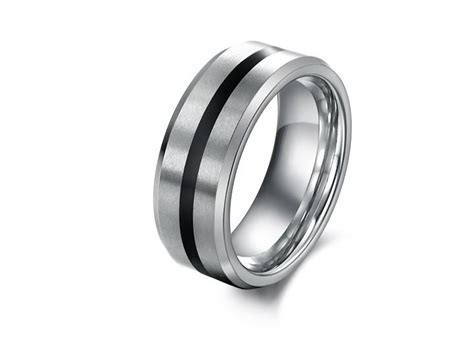 Black&silver Tungsten Carbide Ring Mens Jewelry Wedding