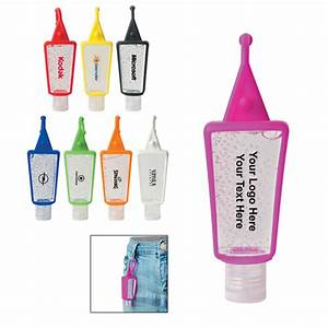 Custom printed 1 oz hand sanitizers in silicone holder for Custom printed hand sanitizer