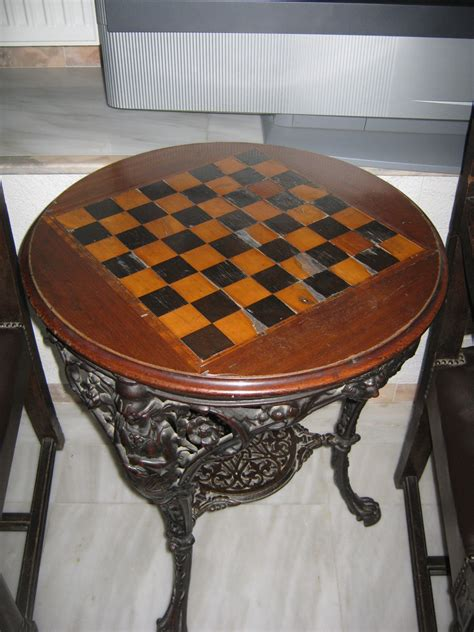 chess table and chairs belonged to the king of grece