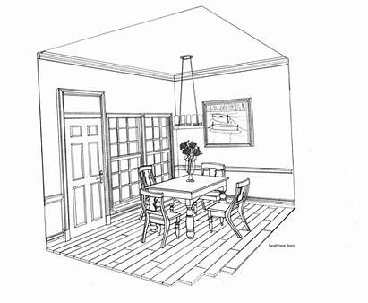Perspective Drawing Point Interior Furniture Bedroom Drawings