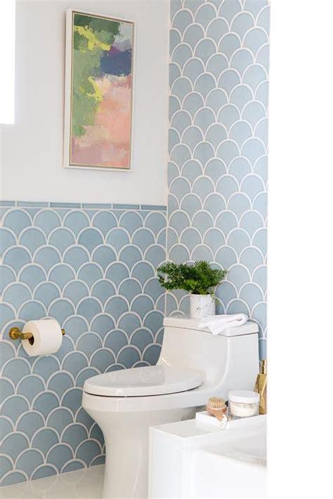 blue fish scales tiles in bathroom contemporary bathroom