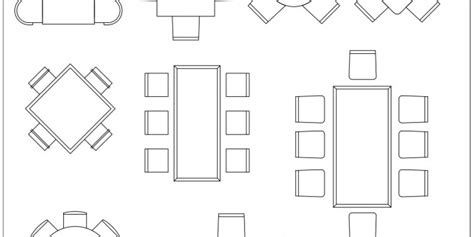 free cad blocks dining tables in architecture