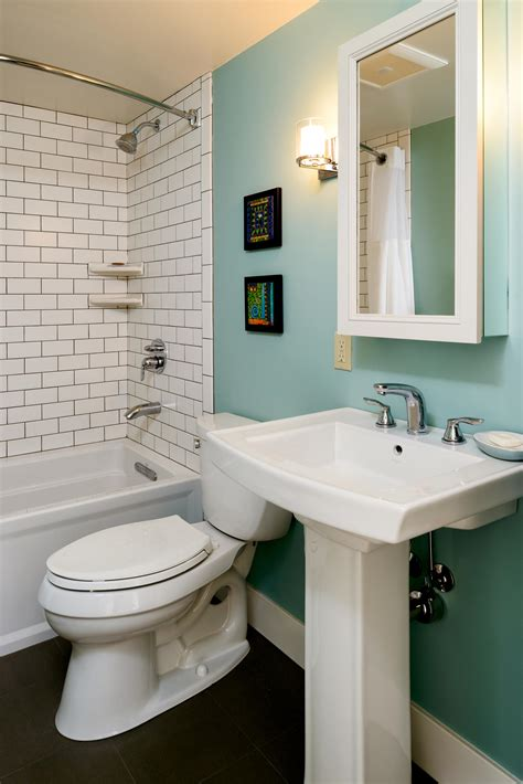 bathroom remodel retro bathroom modern bathroom subway tile teal accent wall turquoise