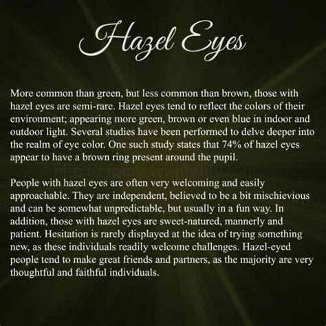 what does my eye color say about me mine are hazel my eye