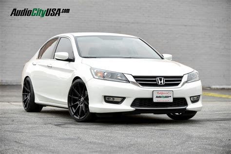 honda accord   str wheels  glossy black staggered rims lowered  eibach springs