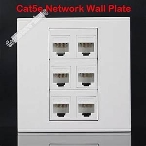 Wall Socket Plate 6 Ports Cat5e Cat5 Rj45 Lan Ethernet