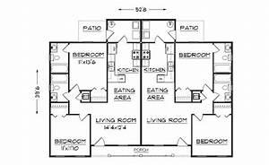 Simple small house floor plans duplex plan j891d floor for Duplex family home plans designs