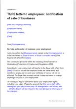 tupe letter  employees  sale  business