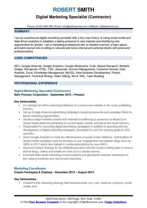Digital Marketing Specialist Resume by Digital Marketing Specialist Resume Sles Qwikresume
