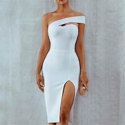Shoulder Polyester Tube Dresses Split Material Evening