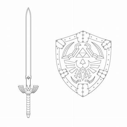 Sword Shield Master Coloring Hylian Drawing Pages